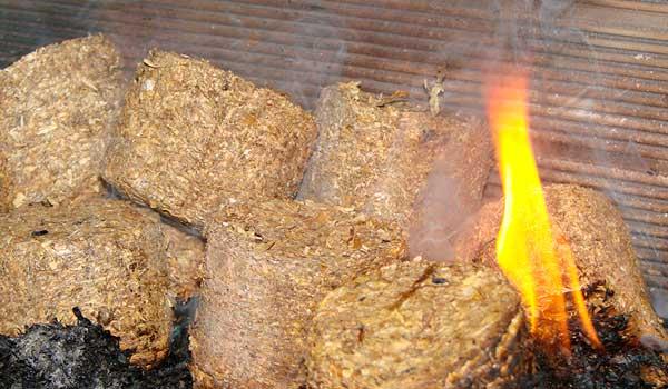 Menue paille - combustion briquettes